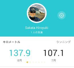 8月ジョグ距離137.9km