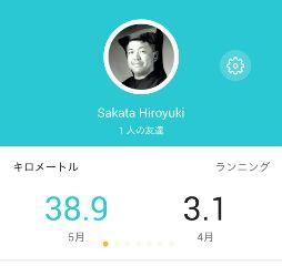 5月ジョグ距離、38.9km
