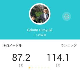 7月ジョグ距離、87.2km